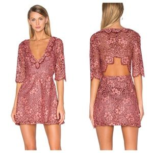 For Love & Lemons Theodora Dress Rosie Pink Lace